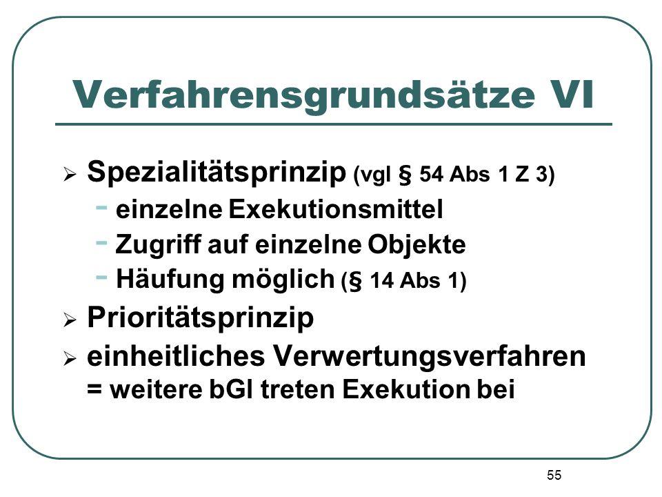 55 Verfahrensgrundsätze VI Spezialitätsprinzip (vgl § 54 Abs 1 Z 3) - einzelne Exekutionsmittel - Zugriff auf einzelne Objekte - Häufung möglich (§ 14