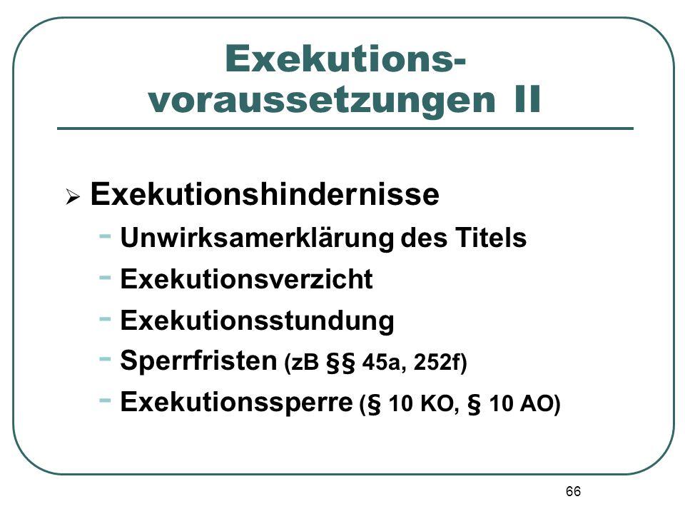 66 Exekutions- voraussetzungen II Exekutionshindernisse - Unwirksamerklärung des Titels - Exekutionsverzicht - Exekutionsstundung - Sperrfristen (zB §