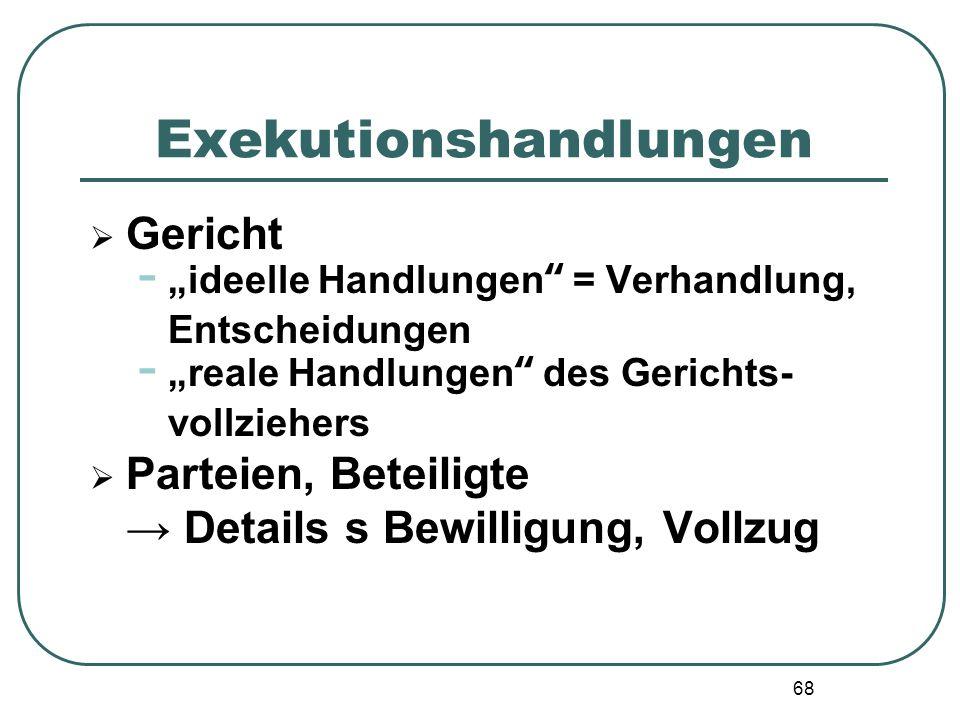 68 Exekutionshandlungen Gericht - ideelle Handlungen = Verhandlung, Entscheidungen - reale Handlungen des Gerichts- vollziehers Parteien, Beteiligte D