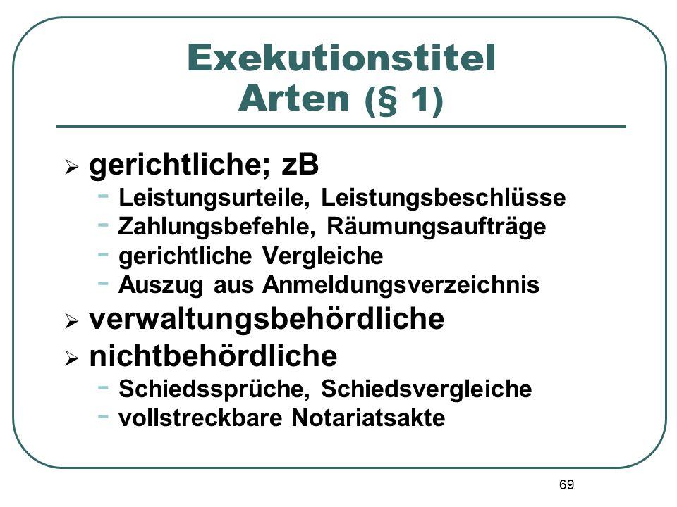 69 Exekutionstitel Arten (§ 1) gerichtliche; zB - Leistungsurteile, Leistungsbeschlüsse - Zahlungsbefehle, Räumungsaufträge - gerichtliche Vergleiche