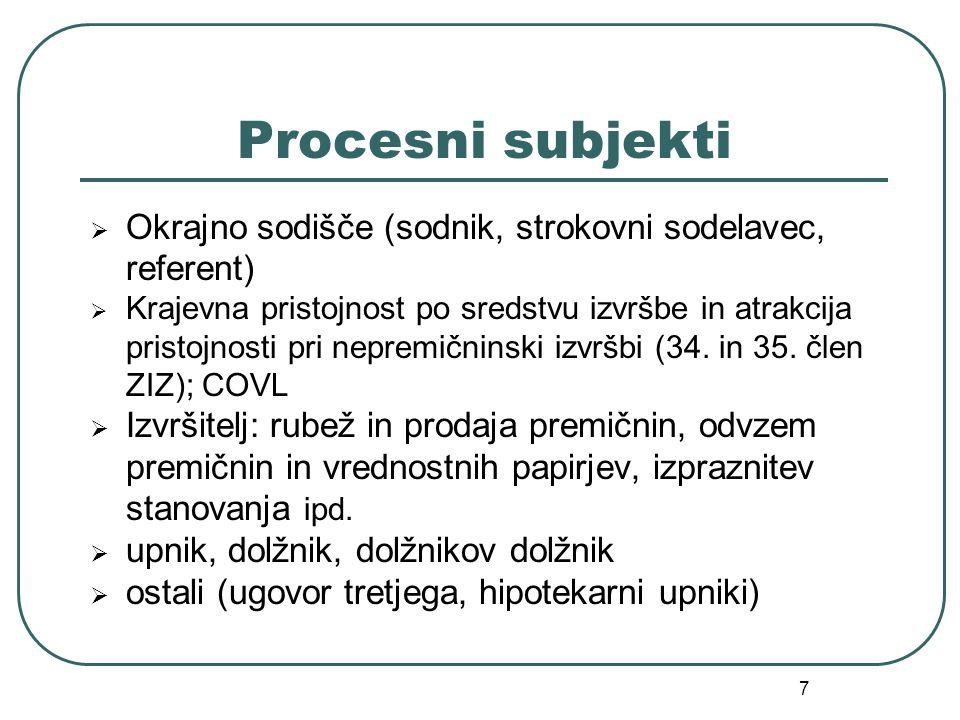 7 Procesni subjekti Okrajno sodišče (sodnik, strokovni sodelavec, referent) Krajevna pristojnost po sredstvu izvršbe in atrakcija pristojnosti pri nep