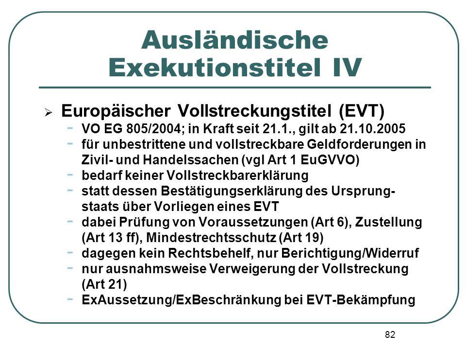 82 Ausländische Exekutionstitel IV Europäischer Vollstreckungstitel (EVT) - VO EG 805/2004; in Kraft seit 21.1., gilt ab 21.10.2005 - für unbestritten