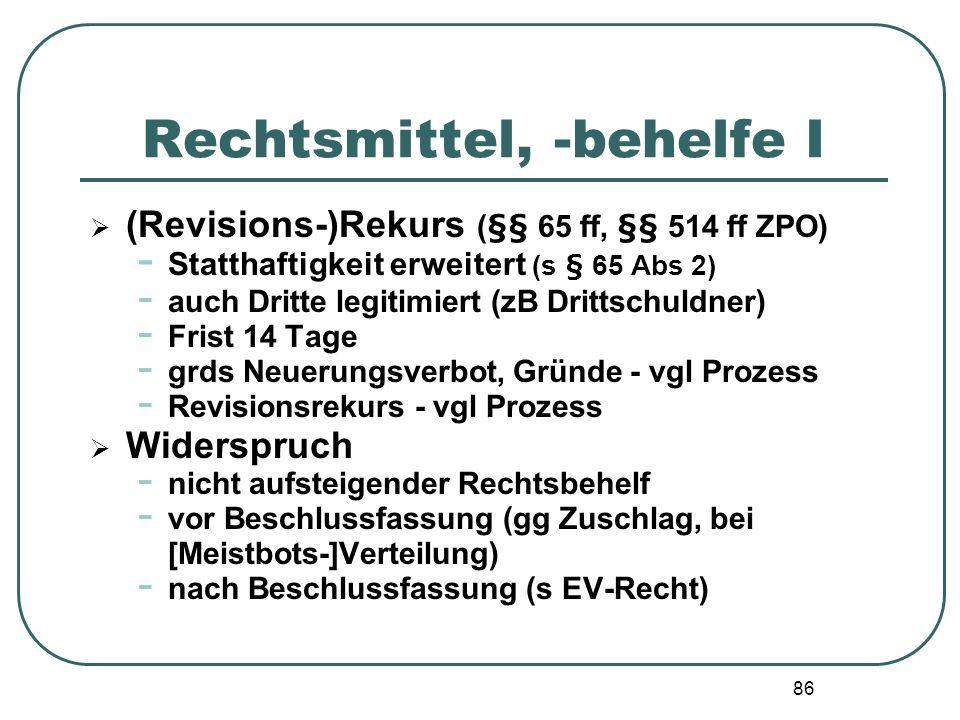 86 Rechtsmittel, -behelfe I (Revisions-)Rekurs (§§ 65 ff, §§ 514 ff ZPO) - Statthaftigkeit erweitert (s § 65 Abs 2) - auch Dritte legitimiert (zB Drit