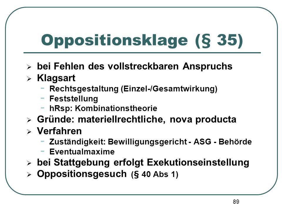 89 Oppositionsklage (§ 35) bei Fehlen des vollstreckbaren Anspruchs Klagsart - Rechtsgestaltung (Einzel-/Gesamtwirkung) - Feststellung - hRsp: Kombina
