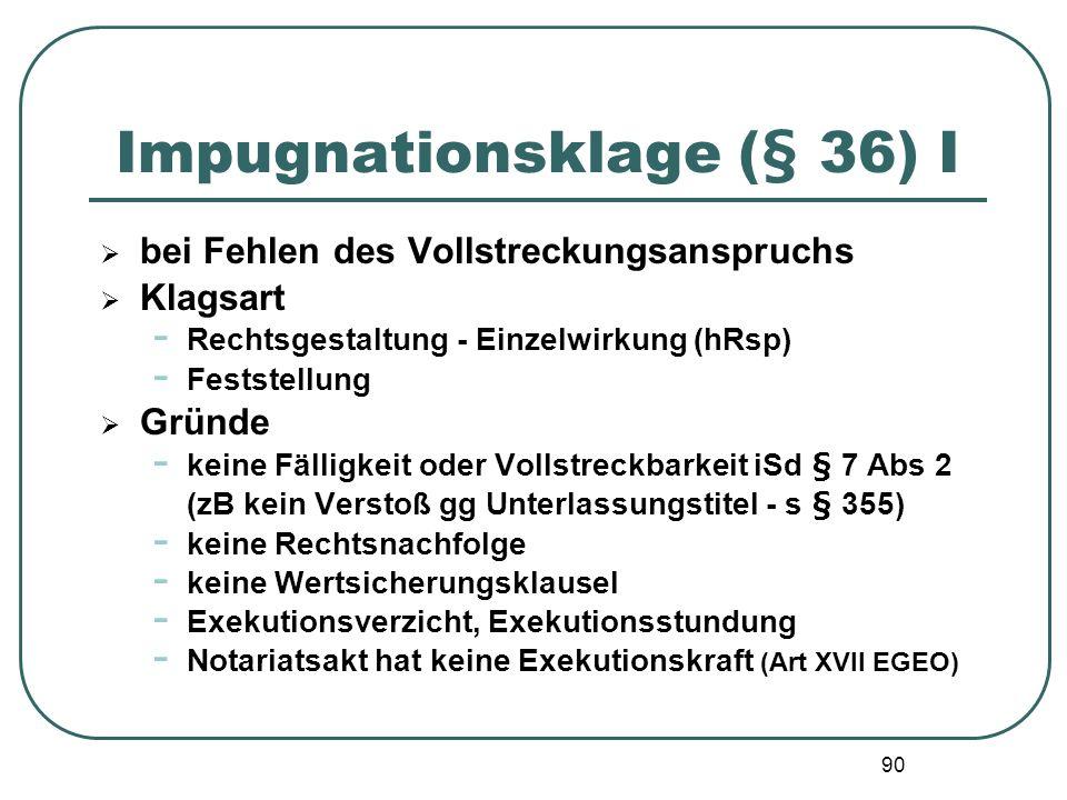 90 Impugnationsklage (§ 36) I bei Fehlen des Vollstreckungsanspruchs Klagsart - Rechtsgestaltung - Einzelwirkung (hRsp) - Feststellung Gründe - keine