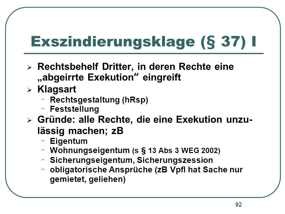 92 Exszindierungsklage (§ 37) I Rechtsbehelf Dritter, in deren Rechte eine abgeirrte Exekution eingreift Klagsart - Rechtsgestaltung (hRsp) - Feststel