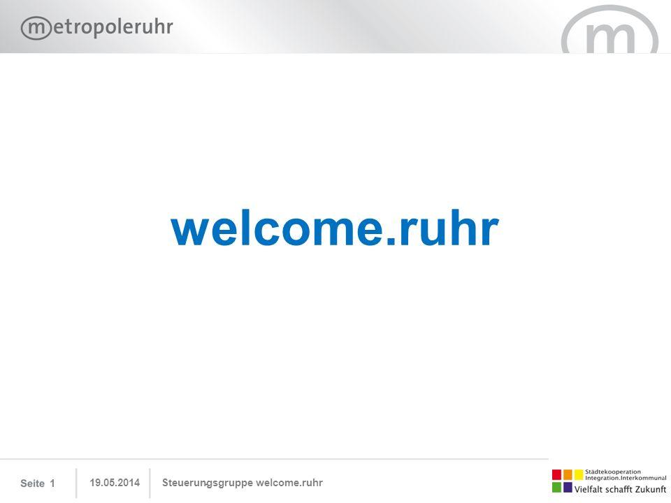 welcome.ruhr 19.05.2014Steuerungsgruppe welcome.ruhr 1
