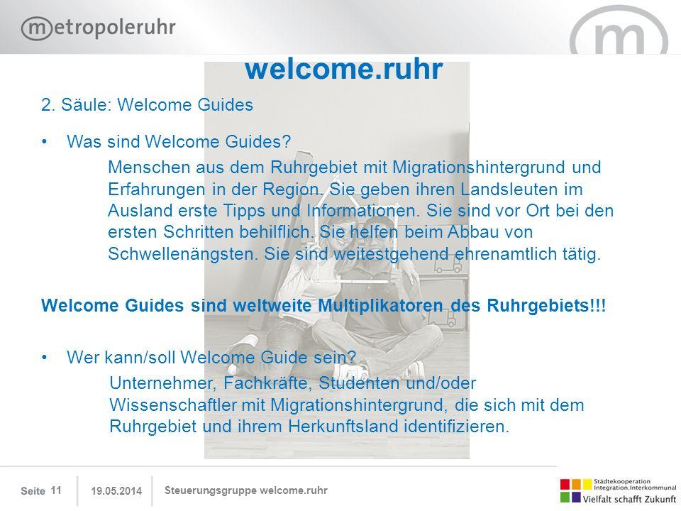 19.05.2014 Steuerungsgruppe welcome.ruhr11 welcome.ruhr 2. Säule: Welcome Guides Was sind Welcome Guides? Menschen aus dem Ruhrgebiet mit Migrationshi