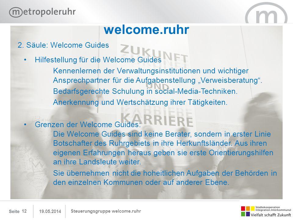 19.05.2014 Steuerungsgruppe welcome.ruhr12 welcome.ruhr Hilfestellung für die Welcome Guides Kennenlernen der Verwaltungsinstitutionen und wichtiger A