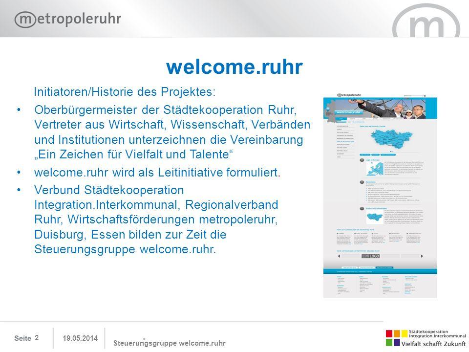 welcome.ruhr Initiatoren/Historie des Projektes: Oberbürgermeister der Städtekooperation Ruhr, Vertreter aus Wirtschaft, Wissenschaft, Verbänden und I
