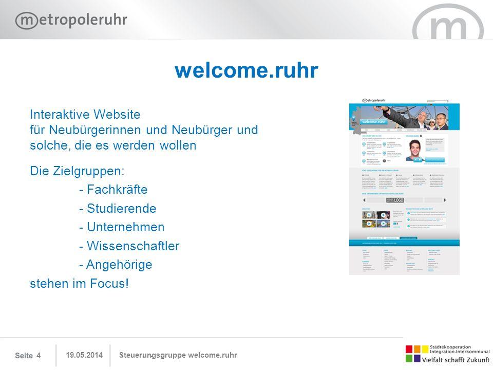 19.05.2014 Steuerungsgruppe welcome.ruhr15 welcome.ruhr Wir suchen: Partnerschaften/Unterstützer -auf der Webseite mit Informationen und Inhalten -als Welcome Guide -als Sponsoren -…