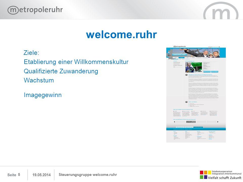 19.05.2014 Steuerungsgruppe welcome.ruhr 6 welcome.ruhr Nutzen: Für Neubürgerinnen und Neubürger gibt welcome.ruhr bedarfsgerechte und zielgruppen- bezogene Informationen.
