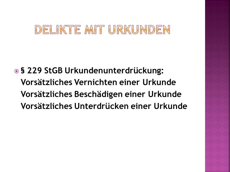 § 229 StGB Urkundenunterdrückung: Vorsätzliches Vernichten einer Urkunde Vorsätzliches Beschädigen einer Urkunde Vorsätzliches Unterdrücken einer Urku