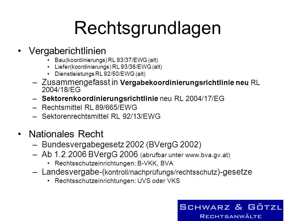 Rechtsgrundlagen Vergaberichtlinien Bau(koordinierungs) RL 93/37/EWG (alt) Liefer(koordinierungs) RL 93/36/EWG (alt) Dienstleistungs RL 92/50/EWG (alt