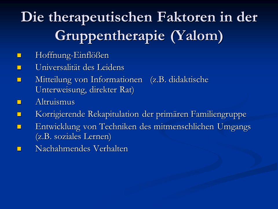 Die therapeutischen Faktoren in der Gruppentherapie (Yalom) Hoffnung-Einflößen Hoffnung-Einflößen Universalität des Leidens Universalität des Leidens Mitteilung von Informationen (z.B.