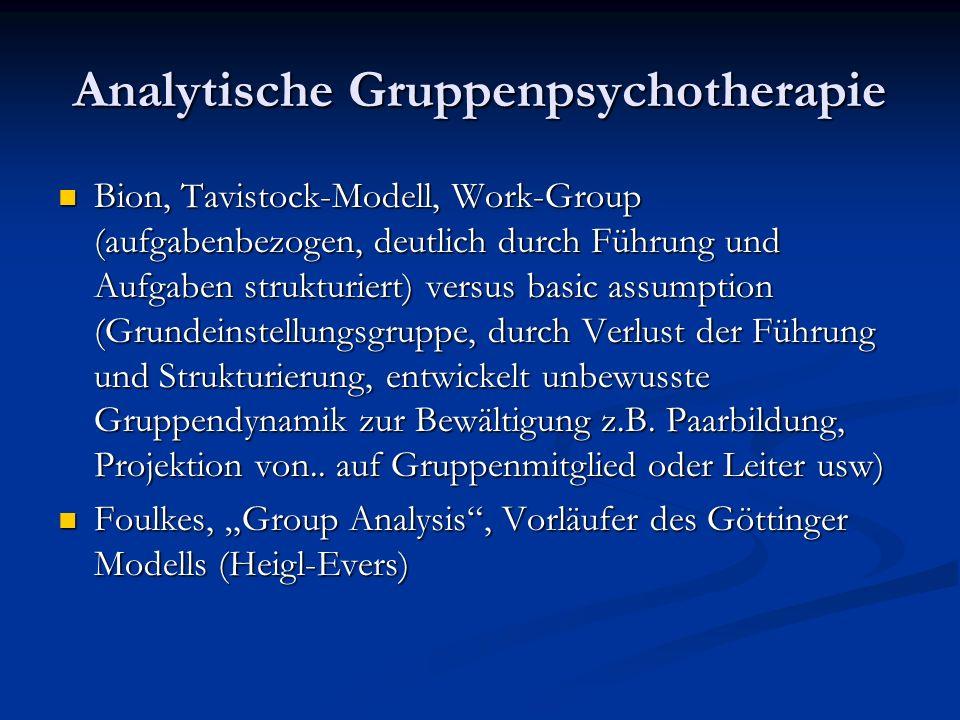 Analytische Gruppenpsychotherapie Bion, Tavistock-Modell, Work-Group (aufgabenbezogen, deutlich durch Führung und Aufgaben strukturiert) versus basic assumption (Grundeinstellungsgruppe, durch Verlust der Führung und Strukturierung, entwickelt unbewusste Gruppendynamik zur Bewältigung z.B.