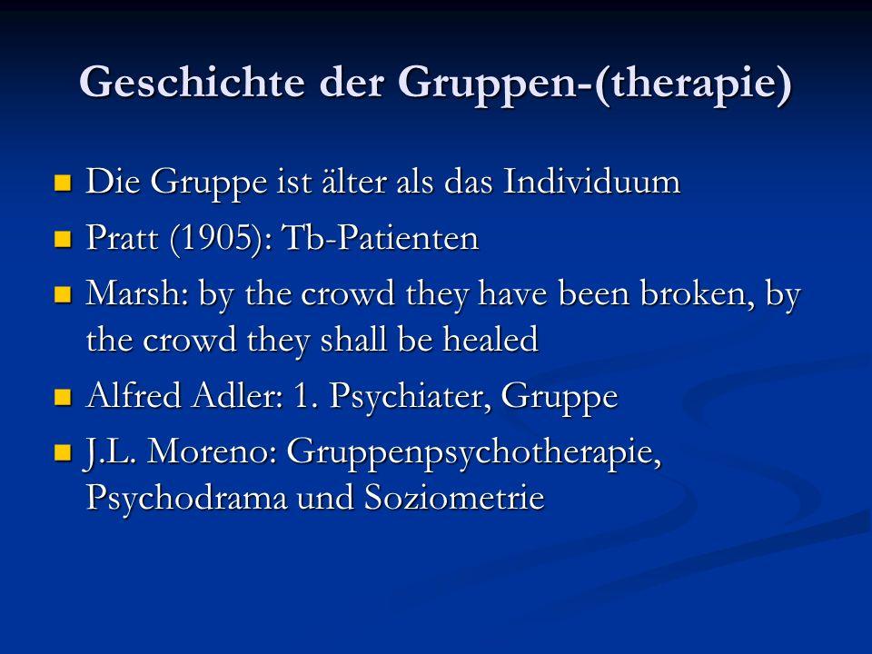 Geschichte der Gruppen-(therapie) Die Gruppe ist älter als das Individuum Die Gruppe ist älter als das Individuum Pratt (1905): Tb-Patienten Pratt (19