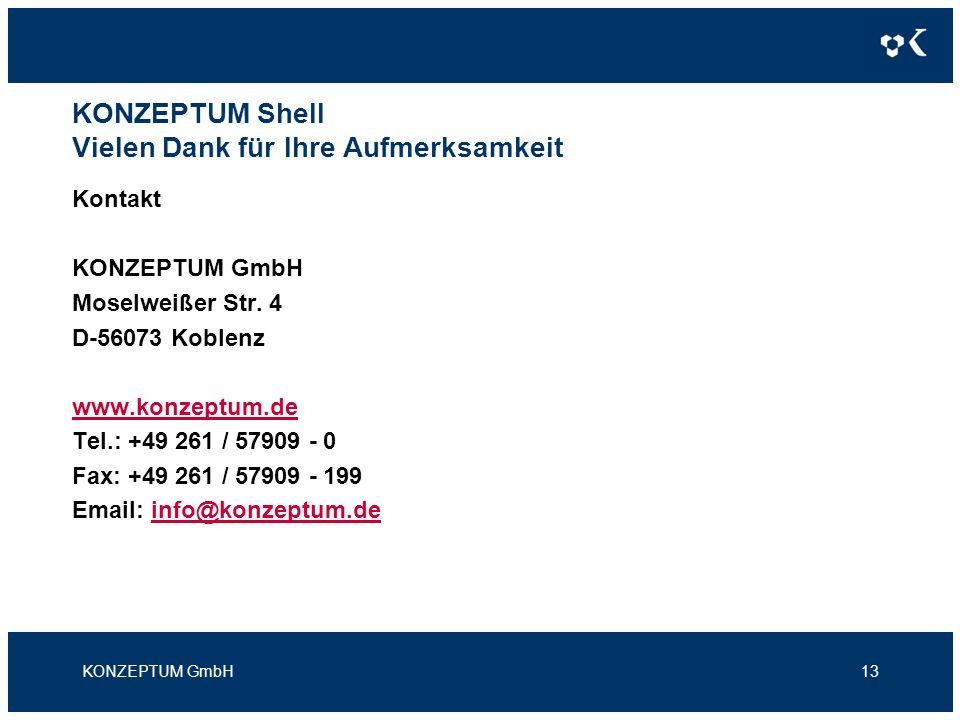 KONZEPTUM Shell Vielen Dank für Ihre Aufmerksamkeit Kontakt KONZEPTUM GmbH Moselweißer Str.
