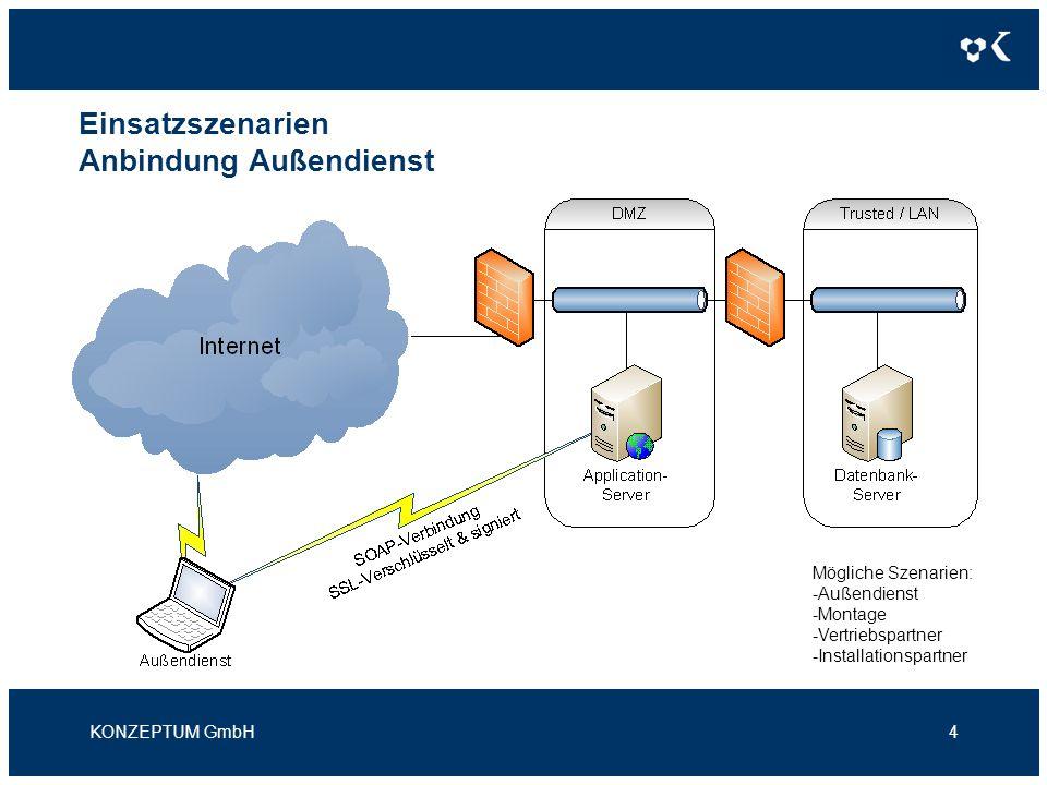 Einsatzszenarien Anbindung Außendienst KONZEPTUM GmbH4 Mögliche Szenarien: -Außendienst -Montage -Vertriebspartner -Installationspartner