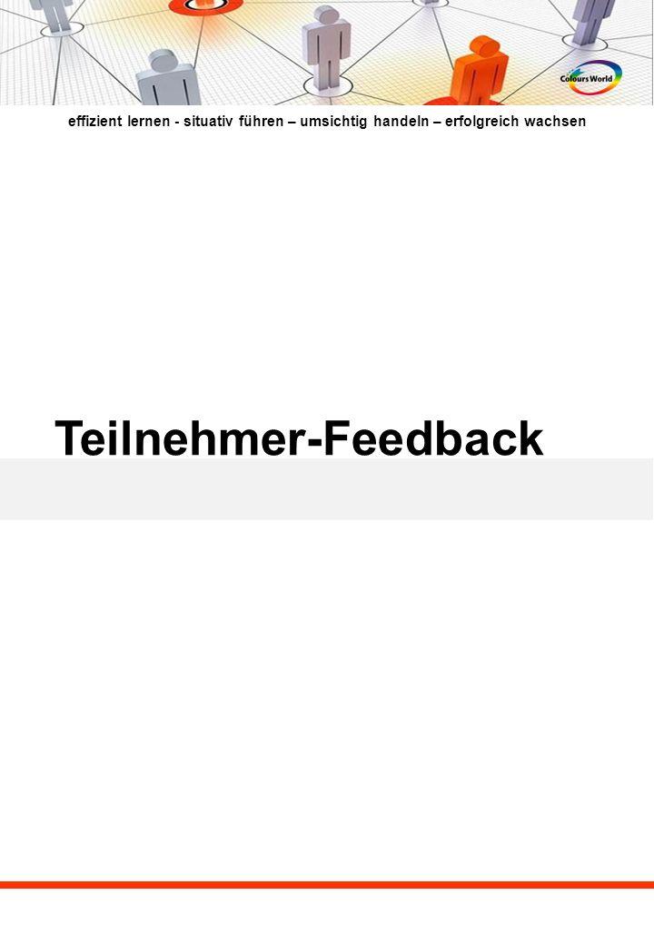 © C olours World, Ute Reingard Schmidt, Köhnstrasse 53, 90478 Nürnberg, Telefon: 0911 – 48 00 669, Fax: 0911- 46 22 039, Mobil: 0173 – 98 22 155; Mail: info(at)coloursworld.de; www.coloursworld.de Teilnehmerstimmen aus dem fit for future-Prozess (32 Mitarbeiter über 4 Ebenen) Ich habe mit diesen Feedbacks versucht einen Überblick zu den verschiedenen Themen des Führungskreislaufs zu geben, sowie die unterschiedlichen Aussagen der Teilnehmer und Ihren Bewusstseins-Prozess abzubilden.