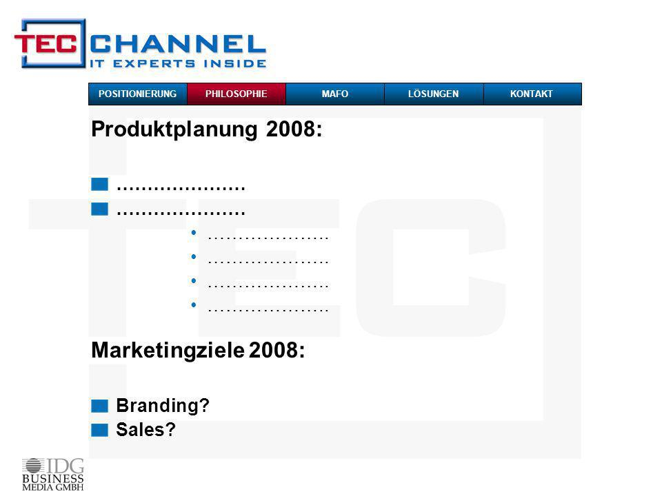 Produktplanung 2008: ………………… ………………..Marketingziele 2008: Branding.