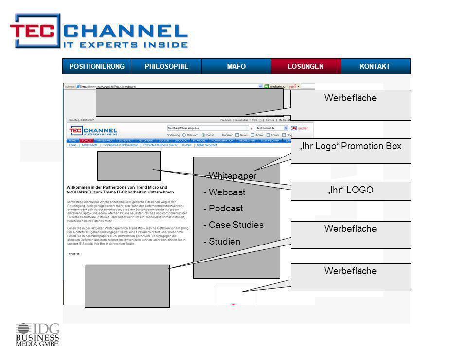 Werbefläche Ihr Logo Promotion Box Ihr LOGO Werbefläche - Whitepaper - Webcast - Podcast - Case Studies - Studien POSITIONIERUNG PHILOSOPHIEMAFOKONTAKTLÖSUNGEN