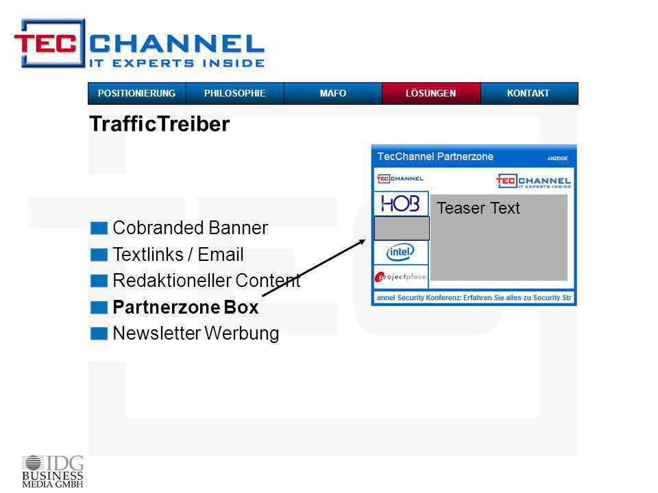 TrafficTreiber Cobranded Banner Textlinks / Email Redaktioneller Content Partnerzone Box Newsletter Werbung Teaser Text POSITIONIERUNG PHILOSOPHIEMAFO