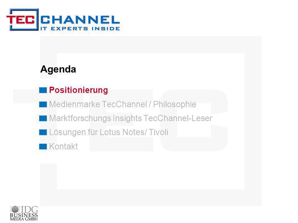 Agenda Positionierung Medienmarke TecChannel / Philosophie Marktforschungs Insights TecChannel-Leser Lösungen für Lotus Notes/ Tivoli Kontakt