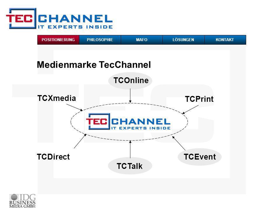 Medienmarke TecChannel TCOnline TCPrint TCEvent TCTalk TCDirect TCXmedia POSITIONIERUNG PHILOSOPHIEMAFOKONTAKTLÖSUNGEN