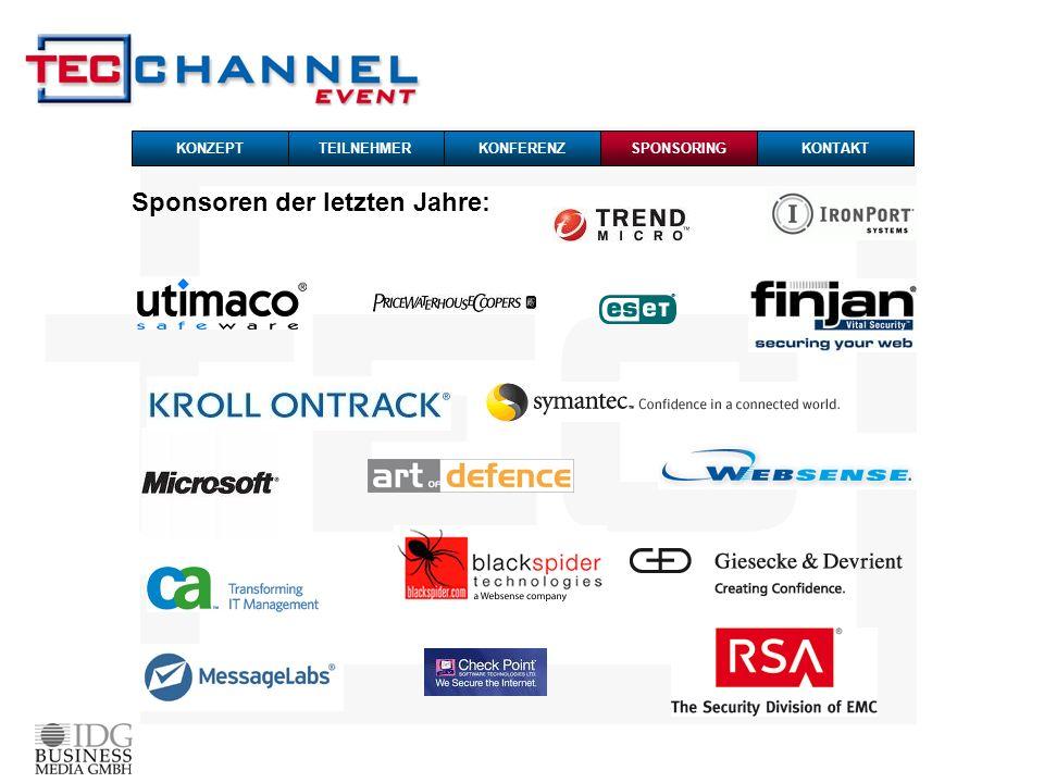Sponsoren der letzten Jahre: SPONSORING TEILNEHMERKONFERENZ KONTAKT KONZEPT