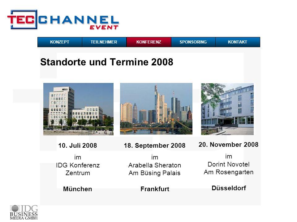 Standorte und Termine 2008 10. Juli 2008 im IDG Konferenz Zentrum München 18. September 2008 im Arabella Sheraton Am Büsing Palais Frankfurt 20. Novem