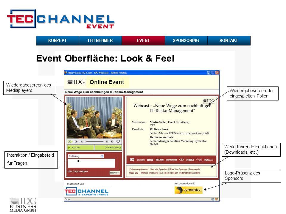 Online Event TEILNEHMERKONZEPTSPONSORINGKONTAKTEVENT Event Oberfläche: Look & Feel Wiedergabescreen des Mediaplayers Interaktion / Eingabefeld für Fra