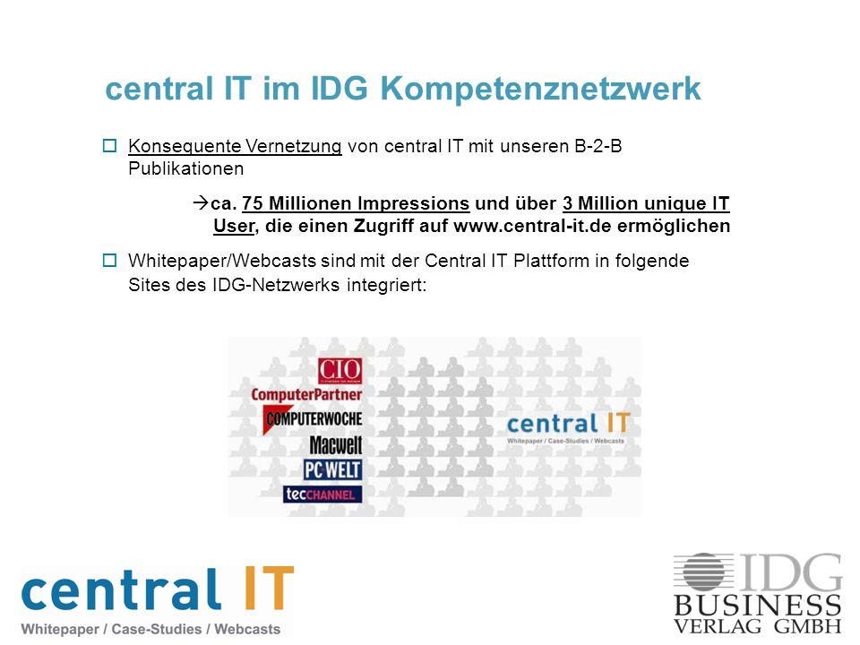 central IT im IDG Kompetenznetzwerk Konsequente Vernetzung von central IT mit unseren B-2-B Publikationen ca. 75 Millionen Impressions und über 3 Mill