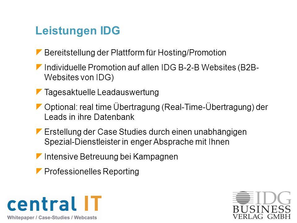 Bereitstellung der Plattform für Hosting/Promotion Individuelle Promotion auf allen IDG B-2-B Websites (B2B- Websites von IDG) Tagesaktuelle Leadauswe