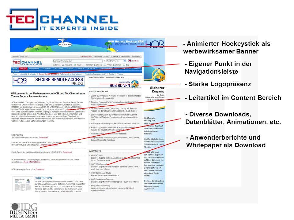 - Animierter Hockeystick als werbewirksamer Banner - Anwenderberichte und Whitepaper als Download - Leitartikel im Content Bereich - Diverse Downloads, Datenblätter, Animationen, etc.