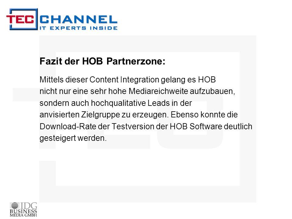 Fazit der HOB Partnerzone: Mittels dieser Content Integration gelang es HOB nicht nur eine sehr hohe Mediareichweite aufzubauen, sondern auch hochqual