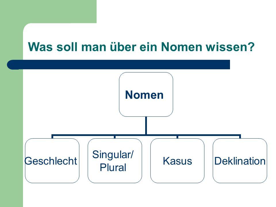 Was soll man über ein Nomen wissen? Nomen Geschlecht Singular/ Plural KasusDeklination