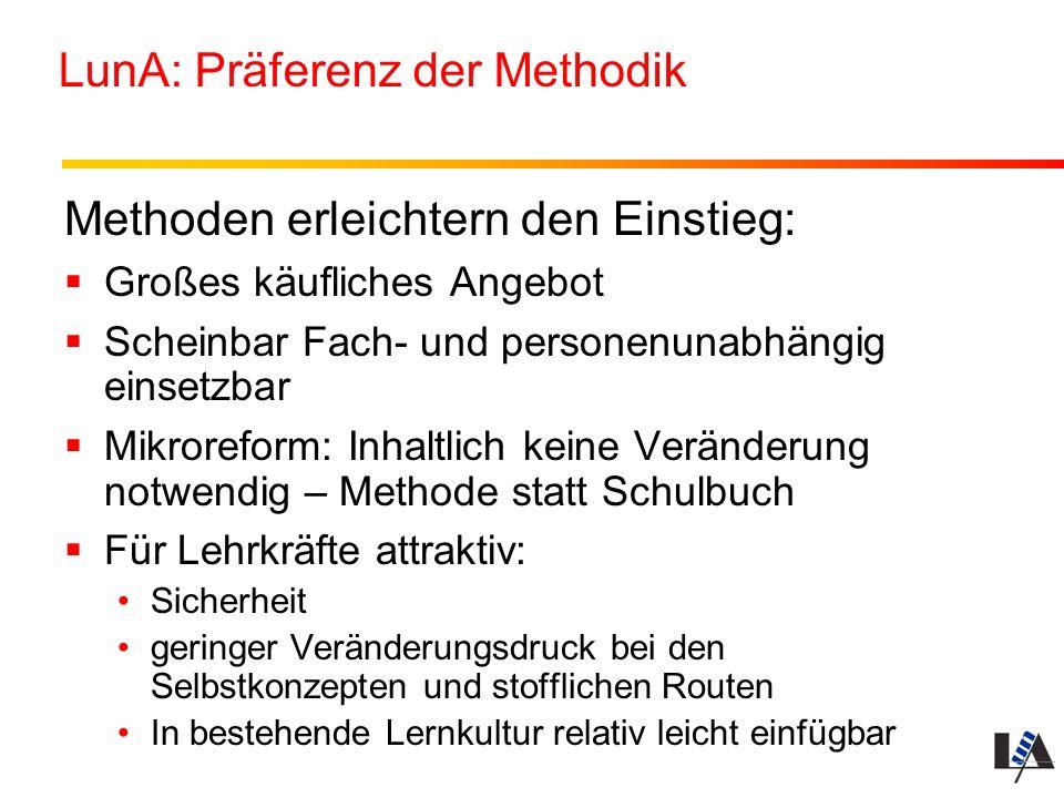 LunA: Präferenz der Methodik Methoden erleichtern den Einstieg: Großes käufliches Angebot Scheinbar Fach- und personenunabhängig einsetzbar Mikrorefor