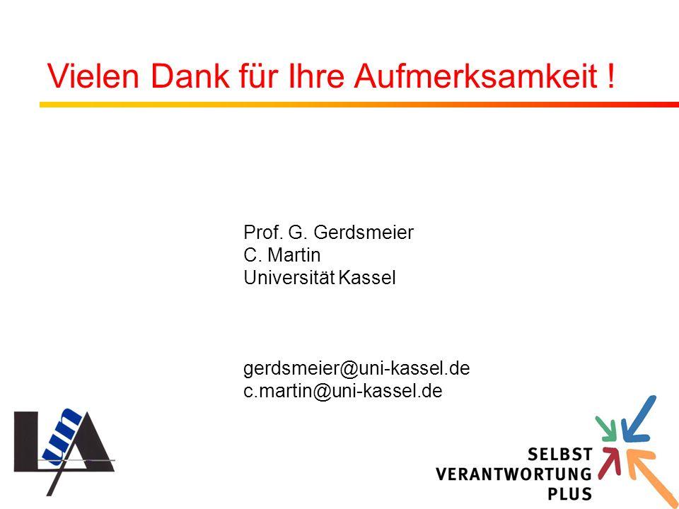 Prof. G. Gerdsmeier C. Martin Universität Kassel gerdsmeier@uni-kassel.de c.martin@uni-kassel.de Vielen Dank für Ihre Aufmerksamkeit !