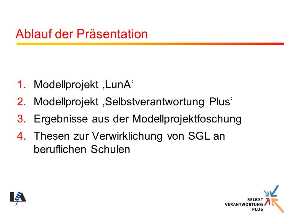Ablauf der Präsentation 1.Modellprojekt LunA 2.Modellprojekt Selbstverantwortung Plus 3.Ergebnisse aus der Modellprojektfoschung 4.Thesen zur Verwirkl