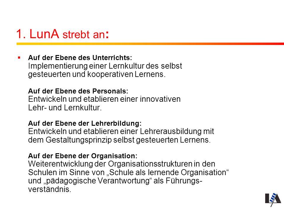 1. LunA strebt an : Auf der Ebene des Unterrichts: Implementierung einer Lernkultur des selbst gesteuerten und kooperativen Lernens. Auf der Ebene des