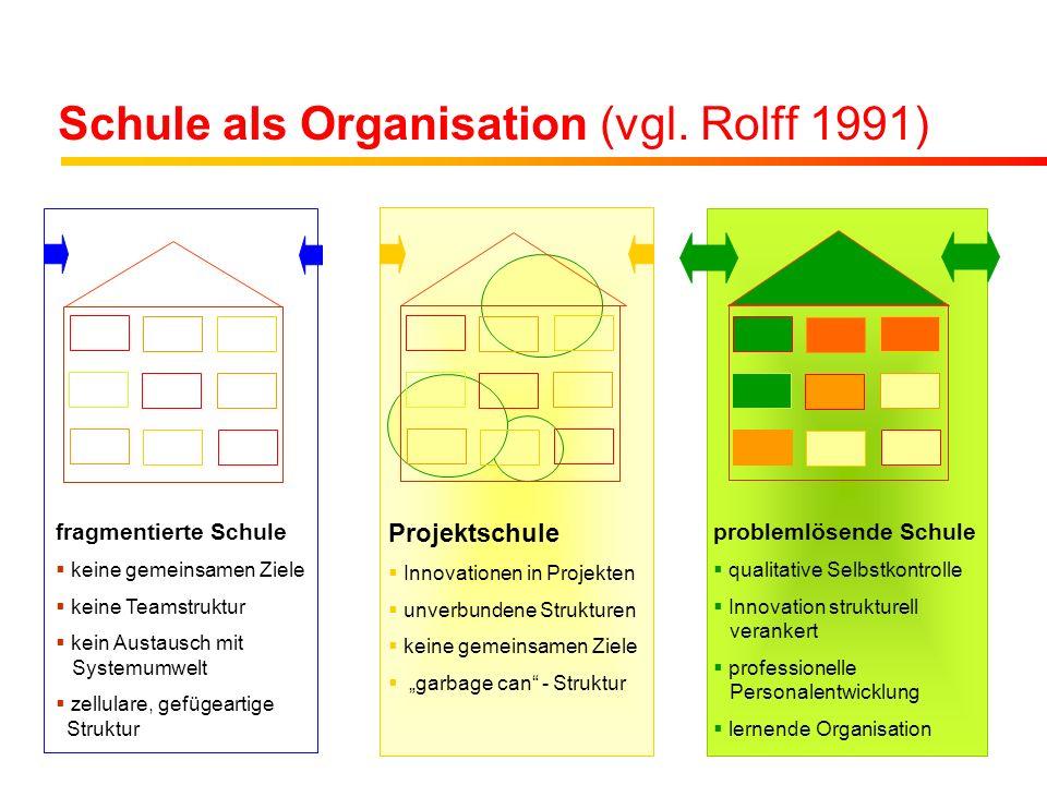 Schule als Organisation (vgl. Rolff 1991) fragmentierte Schule keine gemeinsamen Ziele keine Teamstruktur kein Austausch mit Systemumwelt zellulare, g