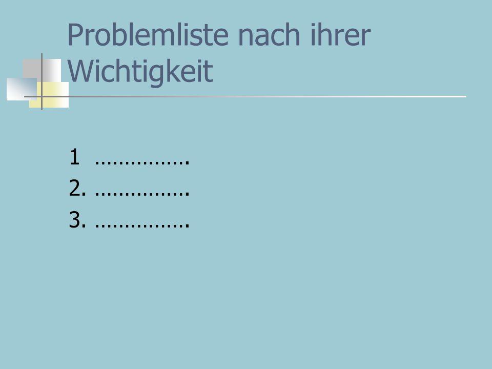 Problemliste nach ihrer Wichtigkeit 1 ……………. 2. ……………. 3. …………….