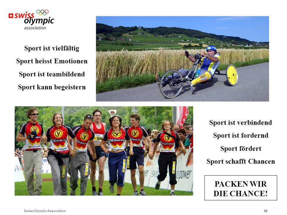 Swiss Olympic Association 17 Sport ist vielfältig Sport heisst Emotionen Sport ist teambildend Sport kann begeistern Sport ist verbindend Sport ist fordernd Sport fördert Sport schafft Chancen PACKEN SIE DIE CHANCE.