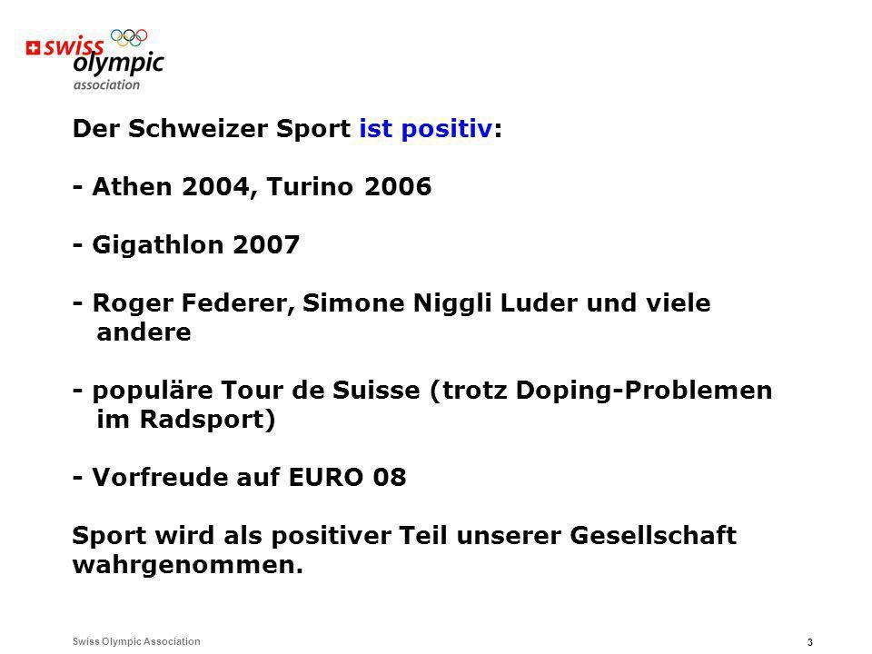 3 Der Schweizer Sport ist positiv: - Athen 2004, Turino 2006 - Gigathlon 2007 - Roger Federer, Simone Niggli Luder und viele andere - populäre Tour de Suisse (trotz Doping-Problemen im Radsport) - Vorfreude auf EURO 08 Sport wird als positiver Teil unserer Gesellschaft wahrgenommen.
