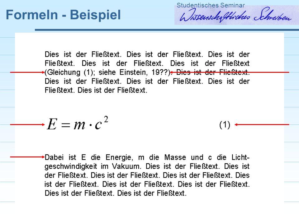 Formeln - Beispiel Studentisches Seminar