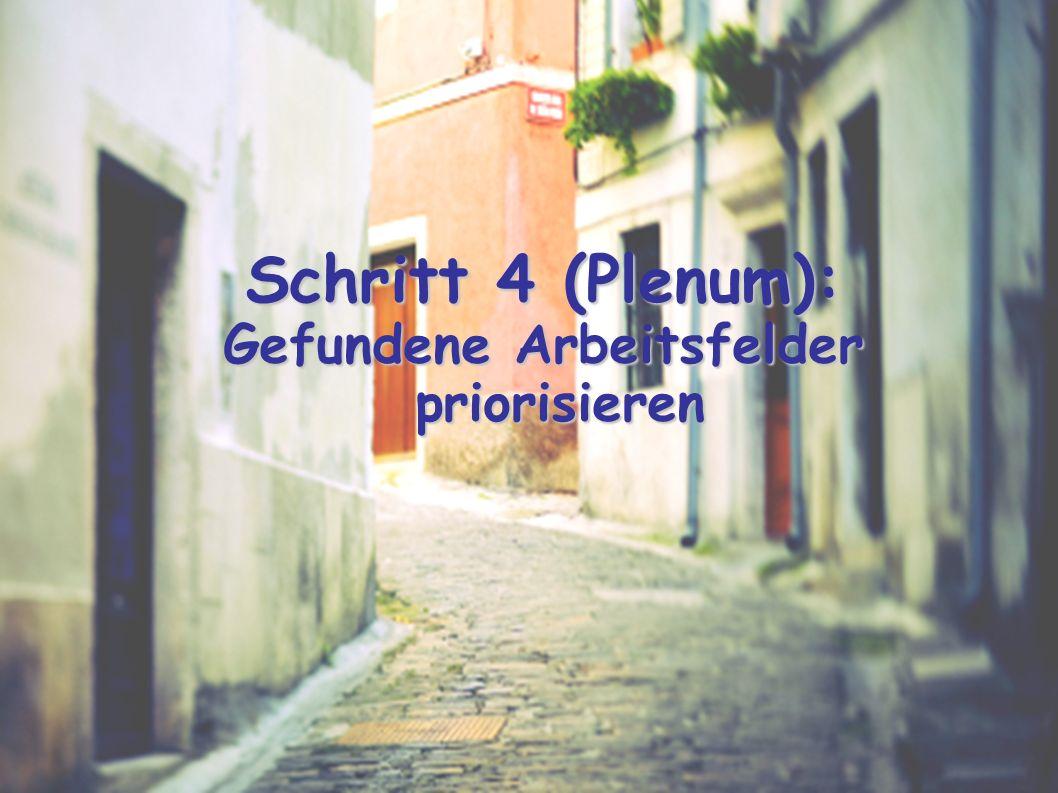 Schritt 4 (Plenum): Gefundene Arbeitsfelder priorisieren
