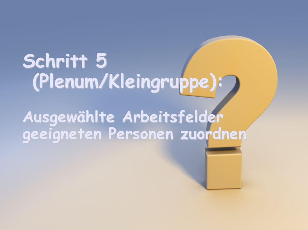 Schritt 5 (Plenum/Kleingruppe): Ausgewählte Arbeitsfelder geeigneten Personen zuordnen