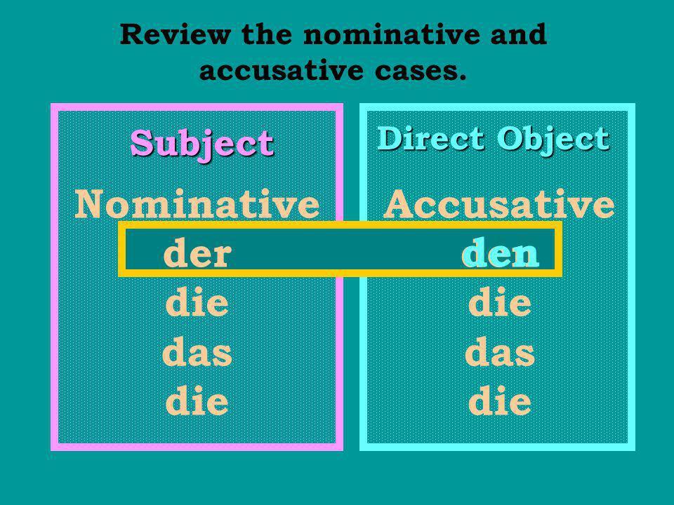 Subject Direct Object Nominative der die das die Accusative den die das die Compare the dative to the nominative and accusative cases.