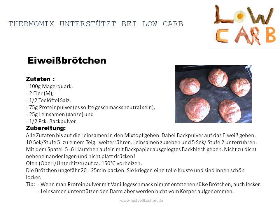 Eiweißbrötchen www.lustvollkochen.de Zutaten : - 100g Magerquark, - 2 Eier (M), - 1/2 Teelöffel Salz, - 75g Proteinpulver (es sollte geschmacksneutral sein), - 25g Leinsamen (ganze) und - 1/2 Pck.